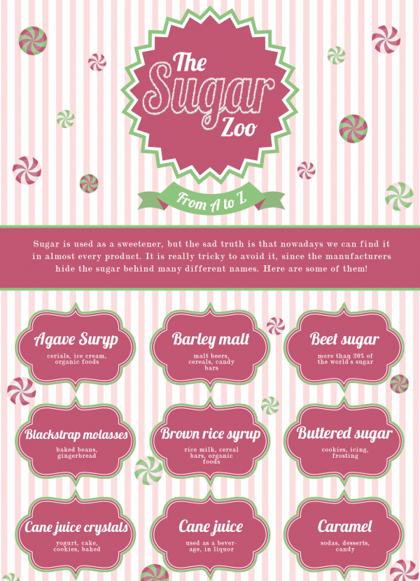 infographic for giving up sugar-the sugar zoo-names for sugar