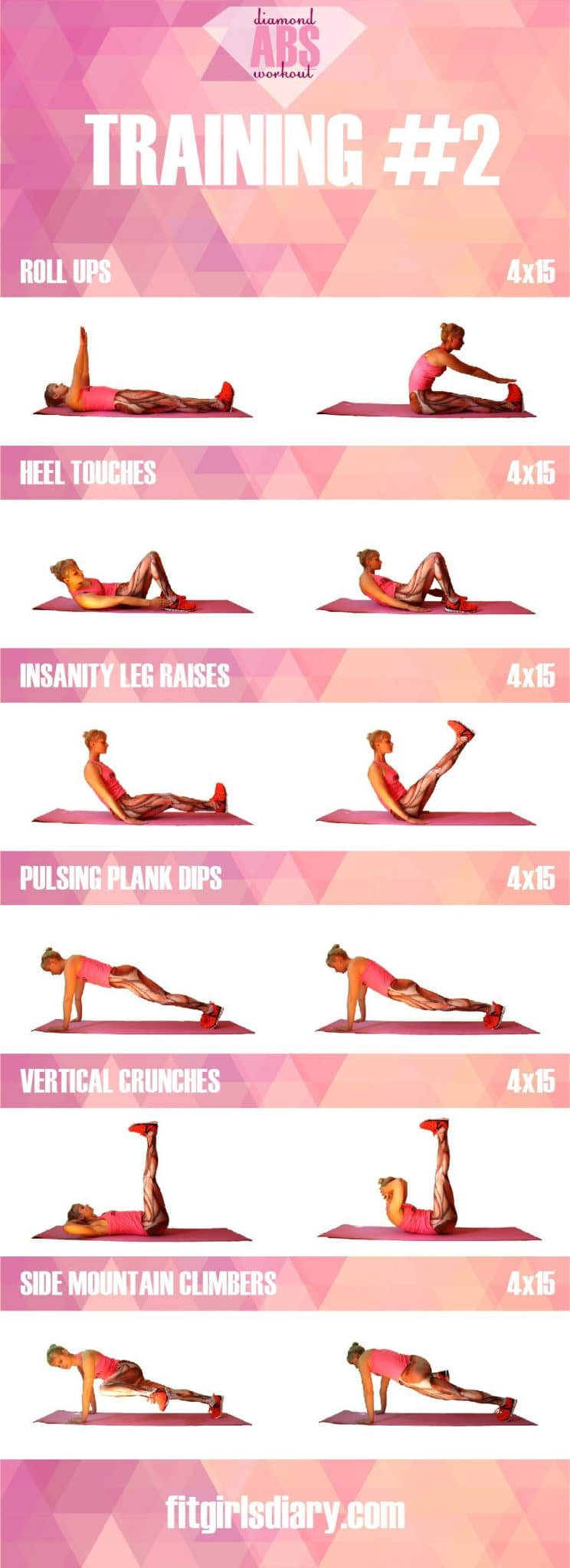 training #2 Diamond Abs Workout - The Best Ab Exercises for Women