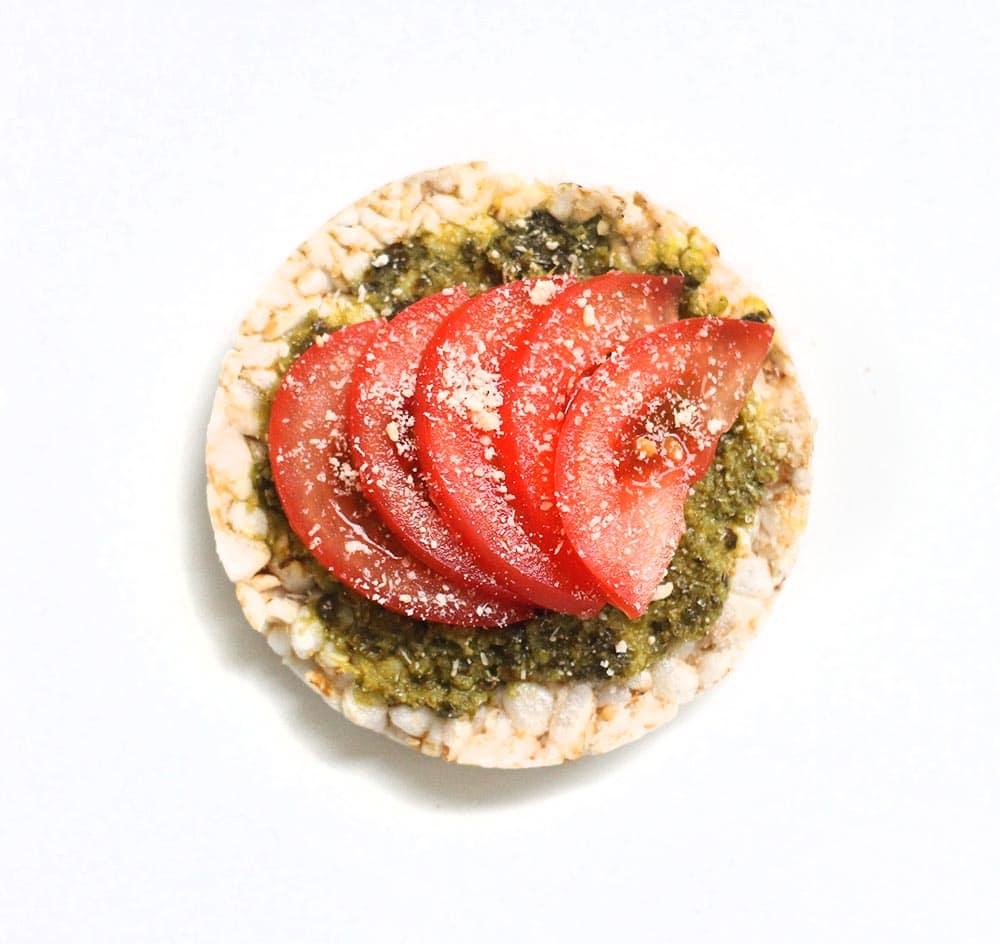 basil pesto + tomato + parmesan