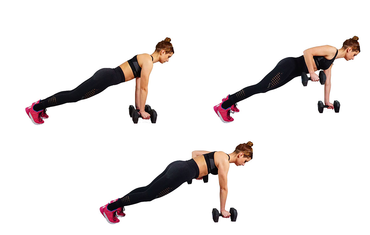 Plank rows - back workouts at home